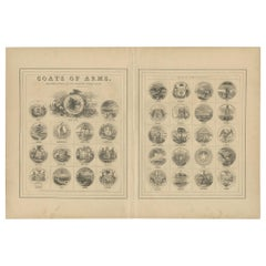 Antique Print of the United States Coats of Arms by Johnson, 1872