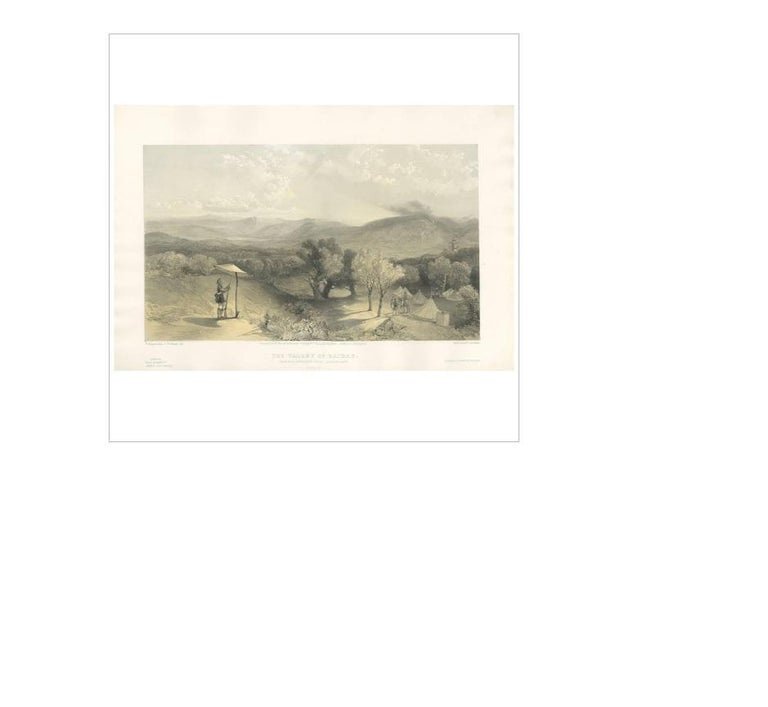 Antique print titled 'The Valley of Baidar. From near Petroski's Villa, Looking East'. This print originates from 'The Seat of the War in the East' by W. Simpson. Published July 18th 1855 by Paul & Dominic Colnaghi & Co.