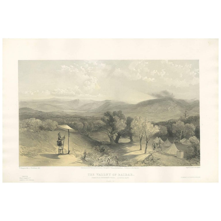 Antique Print of the Valley of Baidar 'Crimean War' by W. Simpson, 1855 For Sale