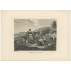 Antique Print of the Wayside Fountain by F. Humphrys, circa 1880