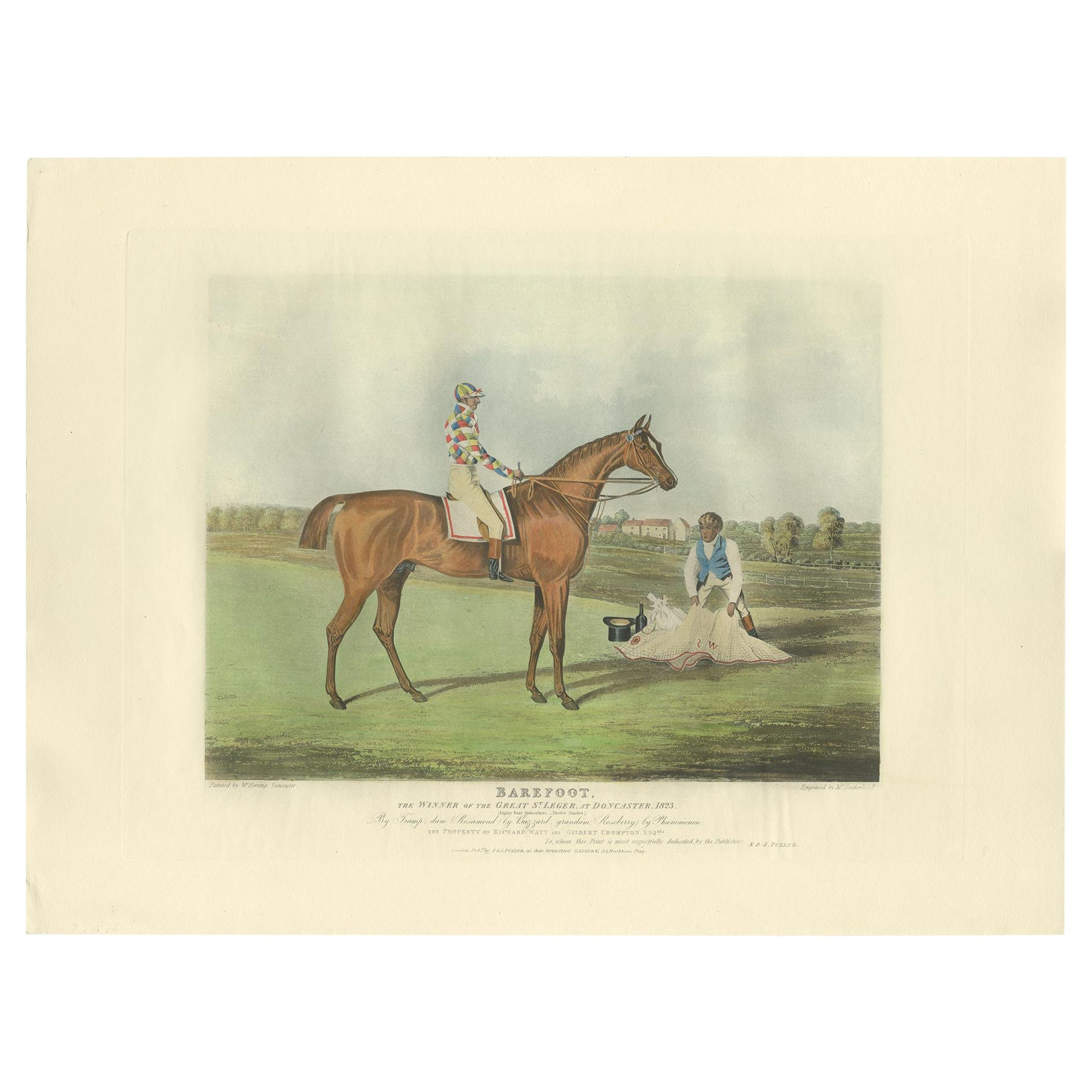 Antique Print of the Winning Horse 'Barefoot' and a Jockey 'c.1840'