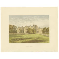 Antique Print of the Wytham Abbey Manor House by Morris, circa 1880