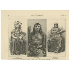 Antique Print of Three Indian Chiefs, 1876