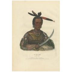 Antique Print of Tokacou 'Yankton Sioux Warrior' by McKenney, '1836'
