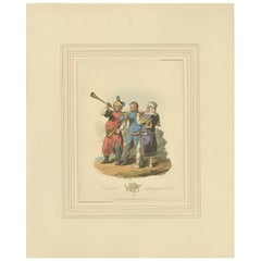 Antique Print of Trumpeters by Atkinson '1814'