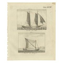 Antique Print of Two Portuguese Ships by Stöttrup, circa 1780