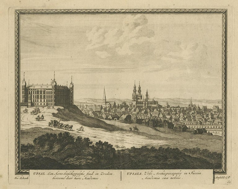 Antique print titled 'Upsal, Een Aerts-bisschoppelyke Stad in Zweden, beroemt door hare Acadmie. Upsala, Urbs Archiepiscopalis in Suecia, Academia sua nobilis'. View of Uppsala, Sweden, with a view of a royal coach leaving Uppsala Castle in the