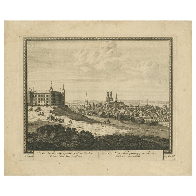 Antique Print of Uppsala by Schenk, circa 1700 For Sale