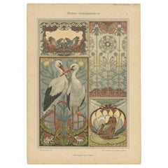 Antique Print of Various Decorations, Stork, Frog, Bird, Flower, circa 1900