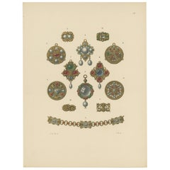 Antique Print of Various Gold Jewelry and Pendants by Hefner-Alteneck, 1890