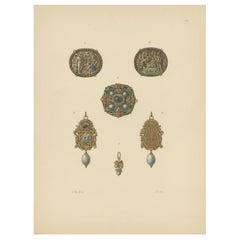 Antique Print of Various Gold Pendants by Hefner-Alteneck '1890'