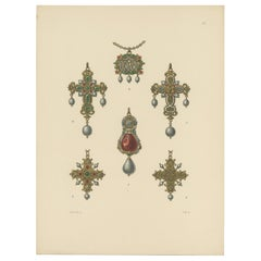 Antique Print of Various Gold Pendants with Gems by Hefner-Alteneck '1890'