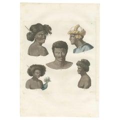 Antique Print of Various Inhabitants of Guébé and Rawak by Ferrario, '1831'