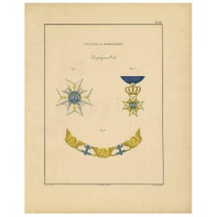 Antique Print of Various Medals of Sweden & Norway 'III' by Rochemont, 1843