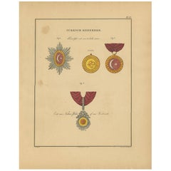 Antique Print of Various Medals of the Turkish Empire by Rochemont, 1843
