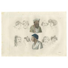 Antique Print of Various Natives of Southeast Asia by Ferrario, '1831'