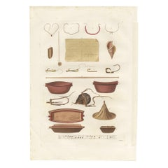 Antique Print of Various Objects of the Caroline Islands by Ferrario '1831'