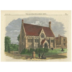 Antique Print of Vaughan Library, 1863