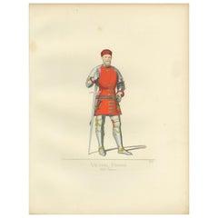 Antique Print of Vettor Pisani, 14th Century Venetian Admiral, by Bonnard, 1860