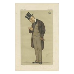 Antique Print of Viscount Torrington Published in the Vanity Fair, 1876