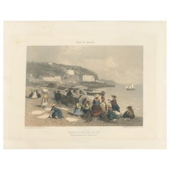 Antique Print of Women and Fishermen in Nice by Benoist, circa 1865