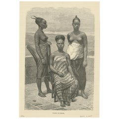 Antique Print of Women of Elmina 'Ghana', '1882'