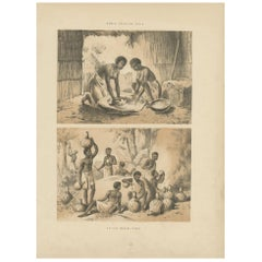 Antique Print of Women Pounding Grain and Africans Brewing Pombe, circa 1860