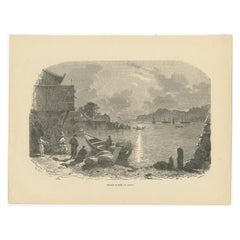 Antique Print of Xiamen, 'circa 1870'