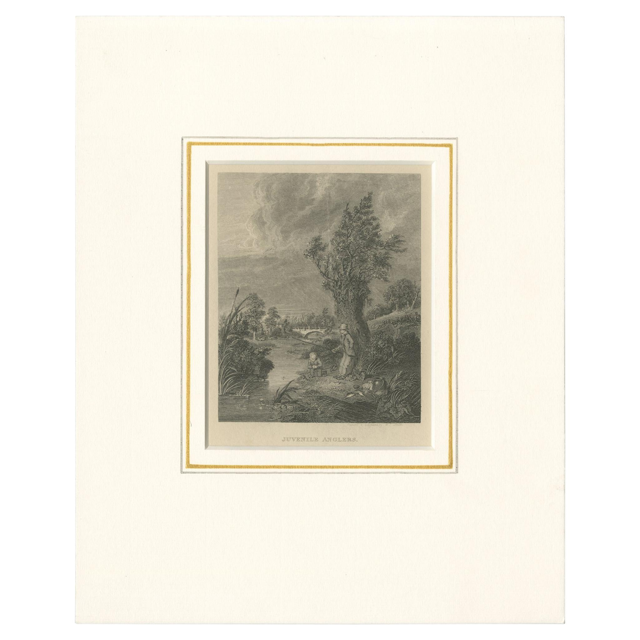 Antique Print of Young Anglers by Pittman (1822)