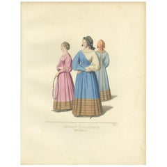 Antique Print of Young Italian Women by Bonnard, '1860'