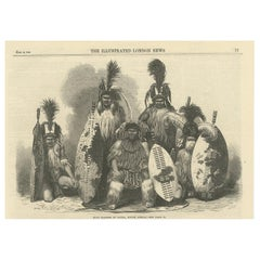 Antique Print of Zulu People, 1865