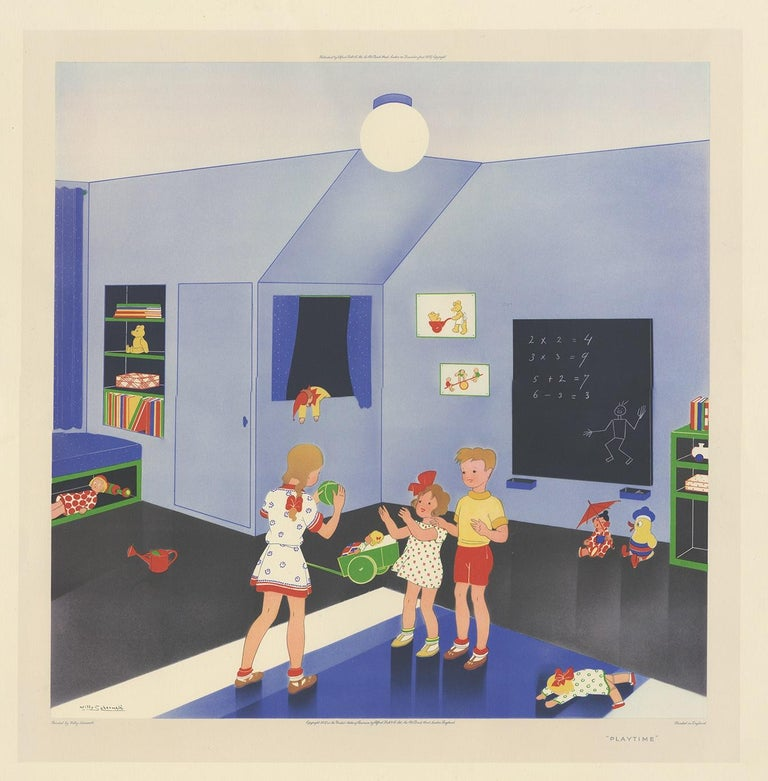 Antique print titled 'Playtime'. This print depicts children playing with a ball. Created by Willy Schermelé, a Dutch illustrator for women and children. Printed in England.