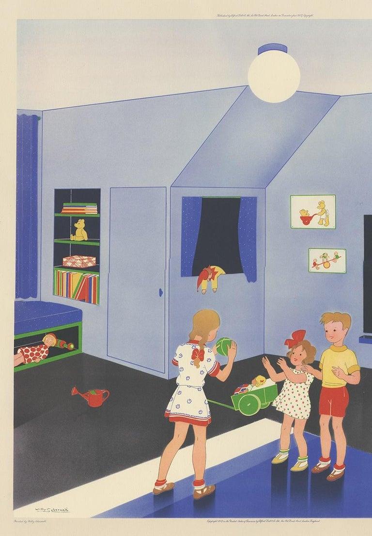 English Antique Print 'Playtime' by W. Schermelé, '1937' For Sale