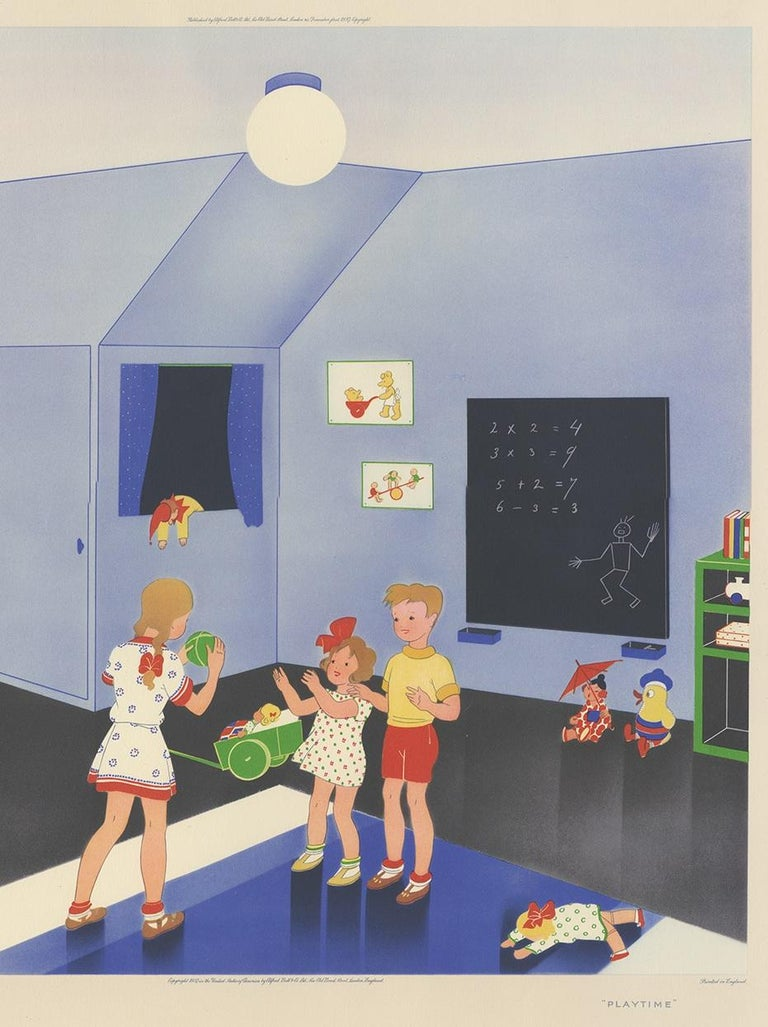 Antique Print 'Playtime' by W. Schermelé, '1937' In Good Condition For Sale In Langweer, NL