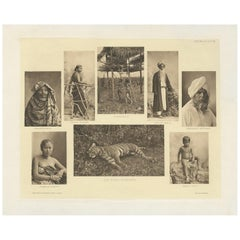 Antique Print Showing Various Malay People and a Tiger by Kleingrothe '1907'