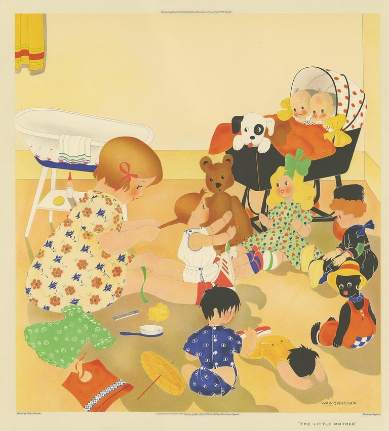 Antique print titled 'The little Mother'. This print depicts a child playing with her dolls. Created by Willy Schermelé, a Dutch illustrator for women and children. Printed in England.