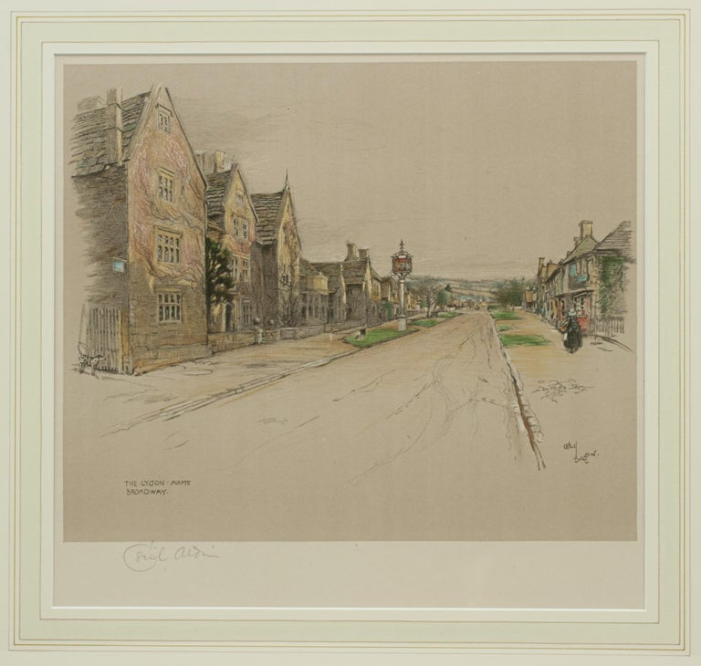 Early 20th Century Antique Print, The Lygon Arms, Broadway by Cecil Aldin For Sale