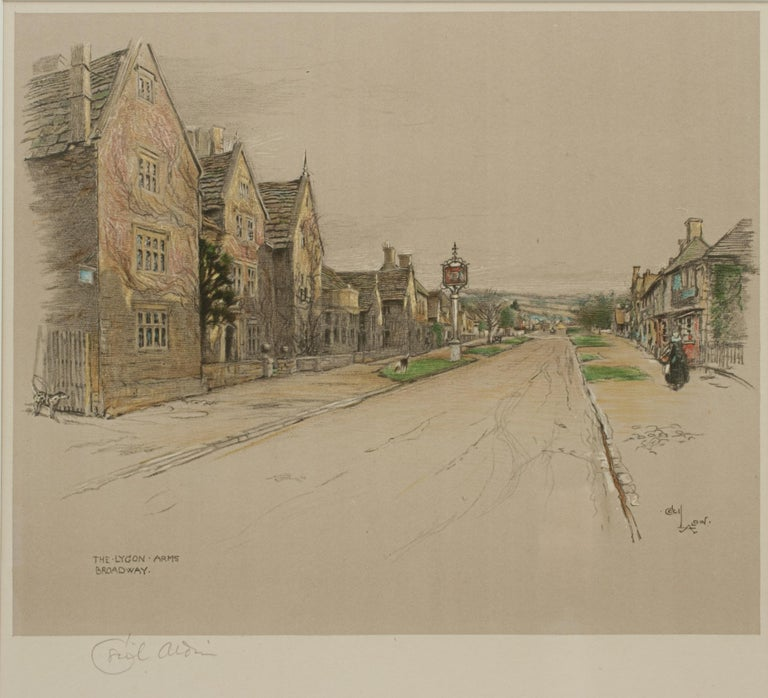 Paper Antique Print, The Lygon Arms, Broadway by Cecil Aldin For Sale