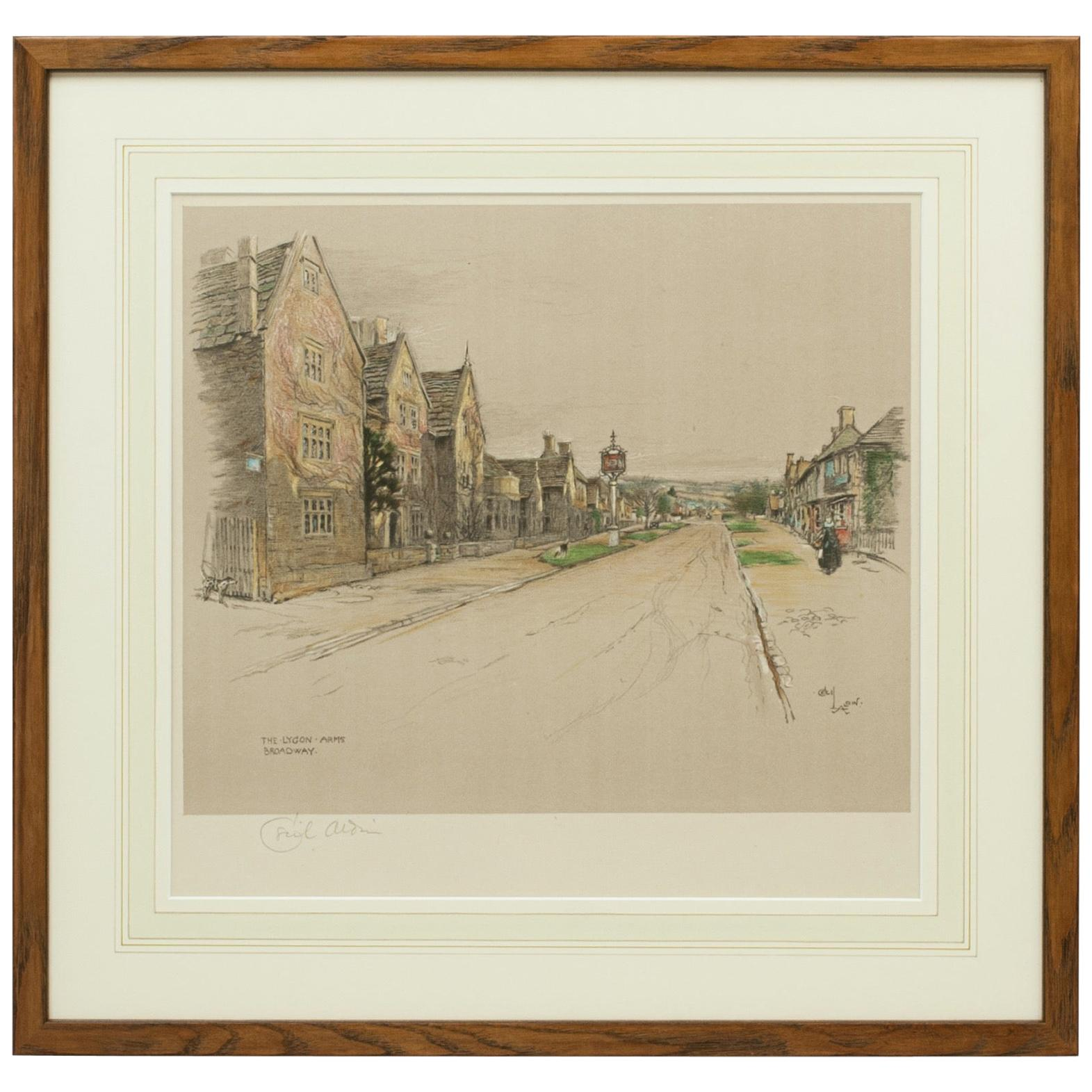 Antique Print, The Lygon Arms, Broadway by Cecil Aldin