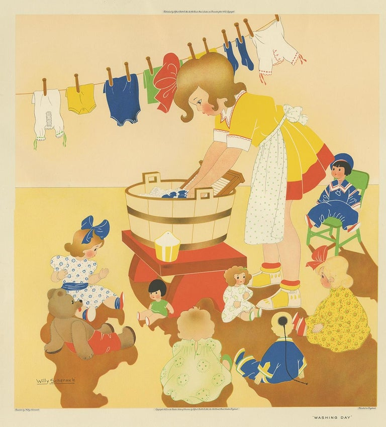 Antique print titled 'Washing Day'. This print depicts a child playing with her dolls, doing the laundry. Created by Willy Schermelé, a Dutch illustrator for women and children. Printed in England.
