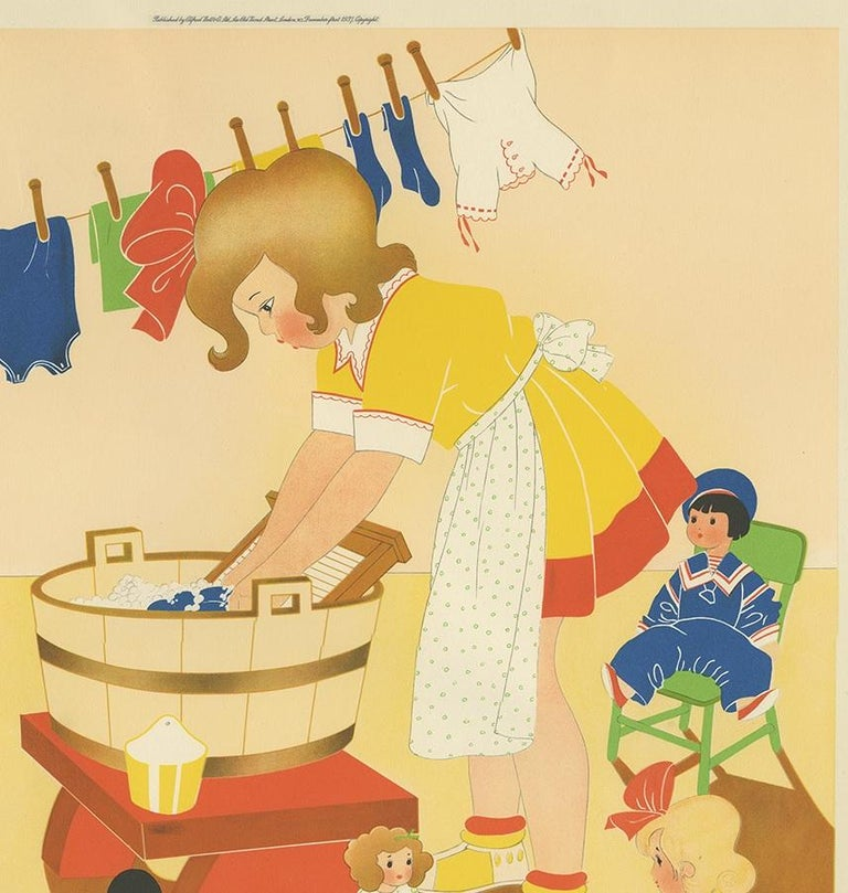 English Antique Print 'Washing Day' by W. Schermelé, 1937 For Sale