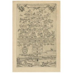 Antique Print with a Family Tree of the Merovingian Kings of France 'circa 1627'