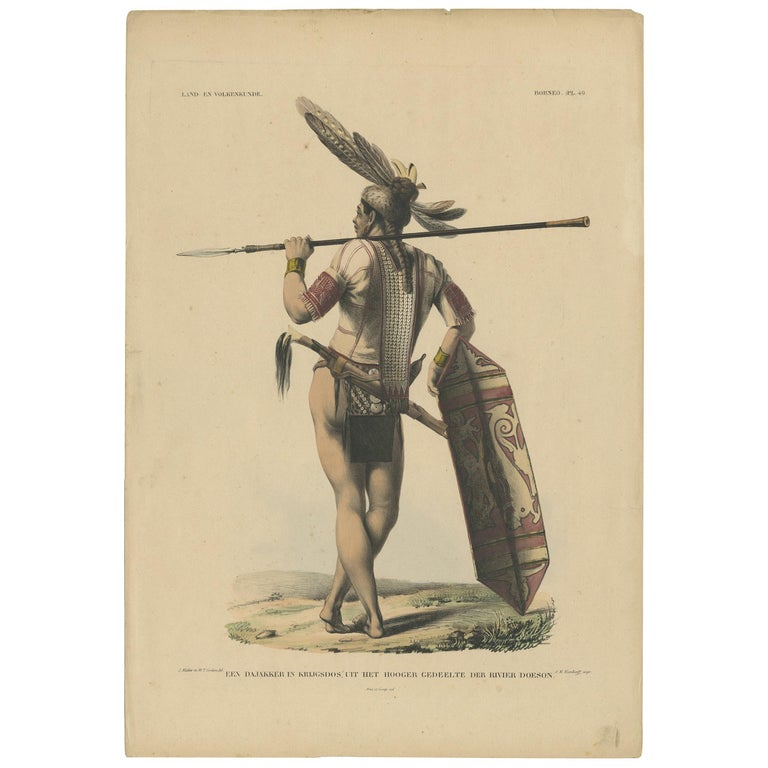 Antique Print with a Native of Borneo 'Indonesia' by Temminck, circa 1840