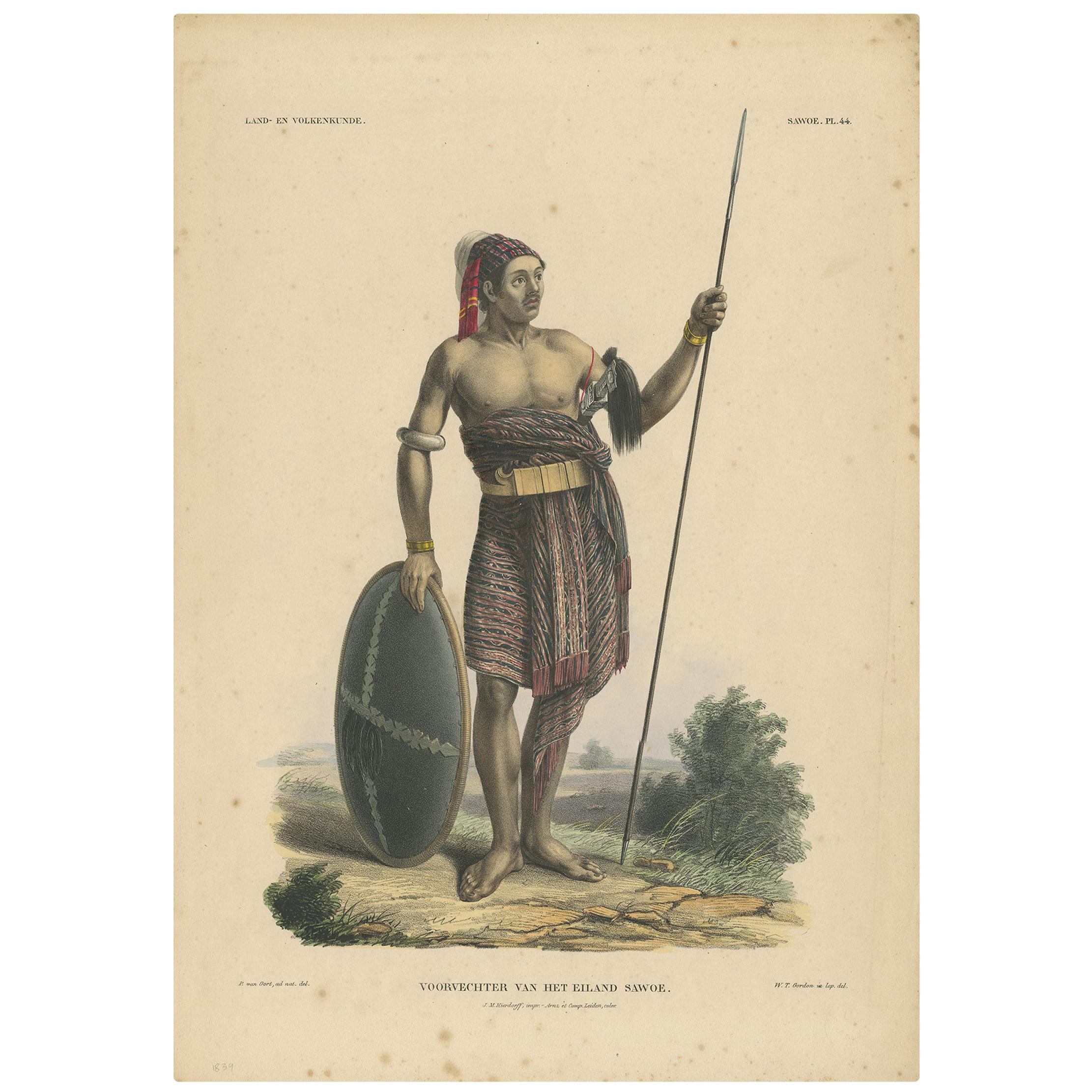 Print Weapons and Tools of Roti & Sawoe 'Indonesia' by Temminck, circa 1840