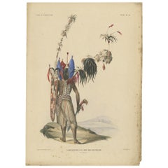 Print with a Native of New Guinea 'Indonesia' by Temminck, circa 1840