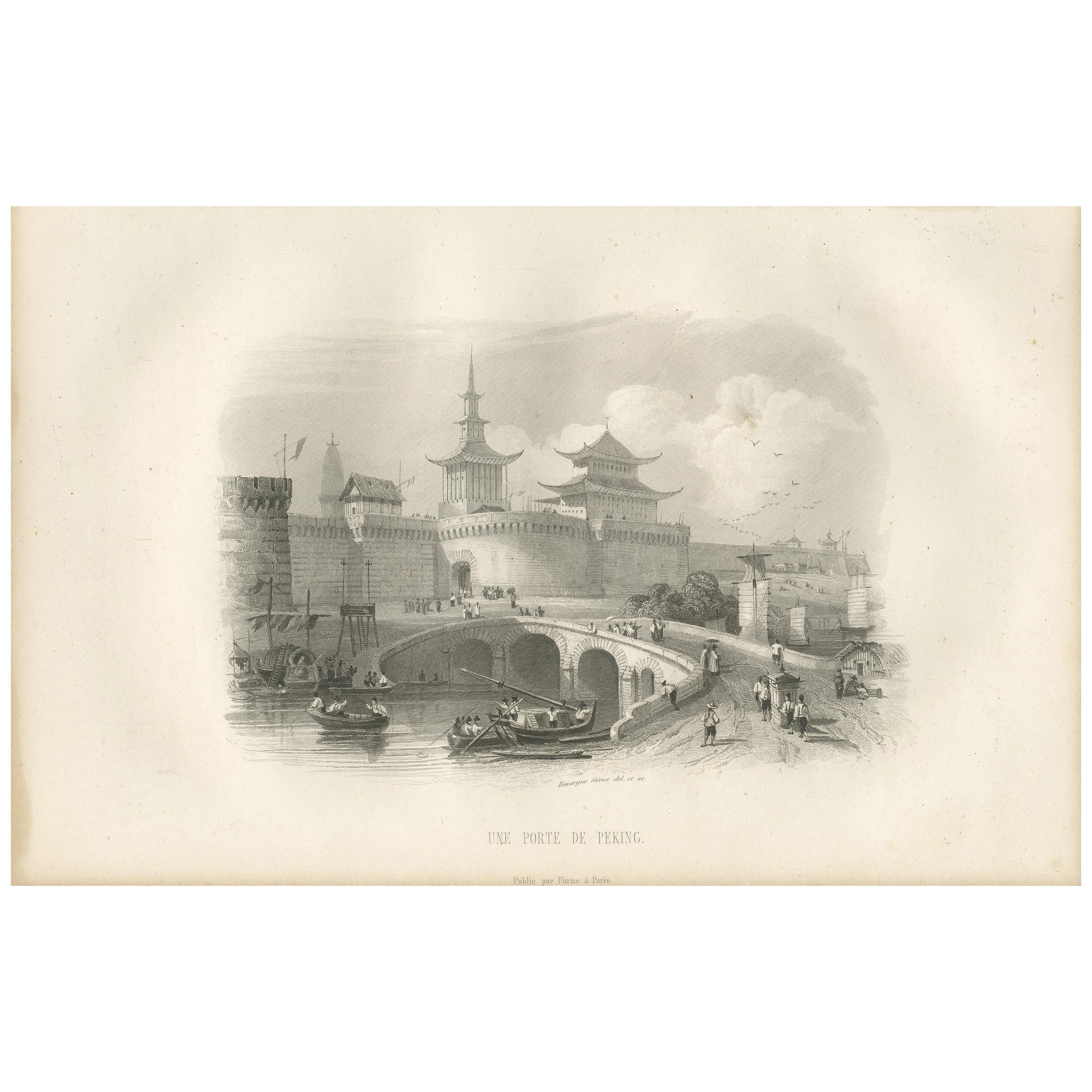 Antique Print with a View of Beijing by D'Urville, 1853