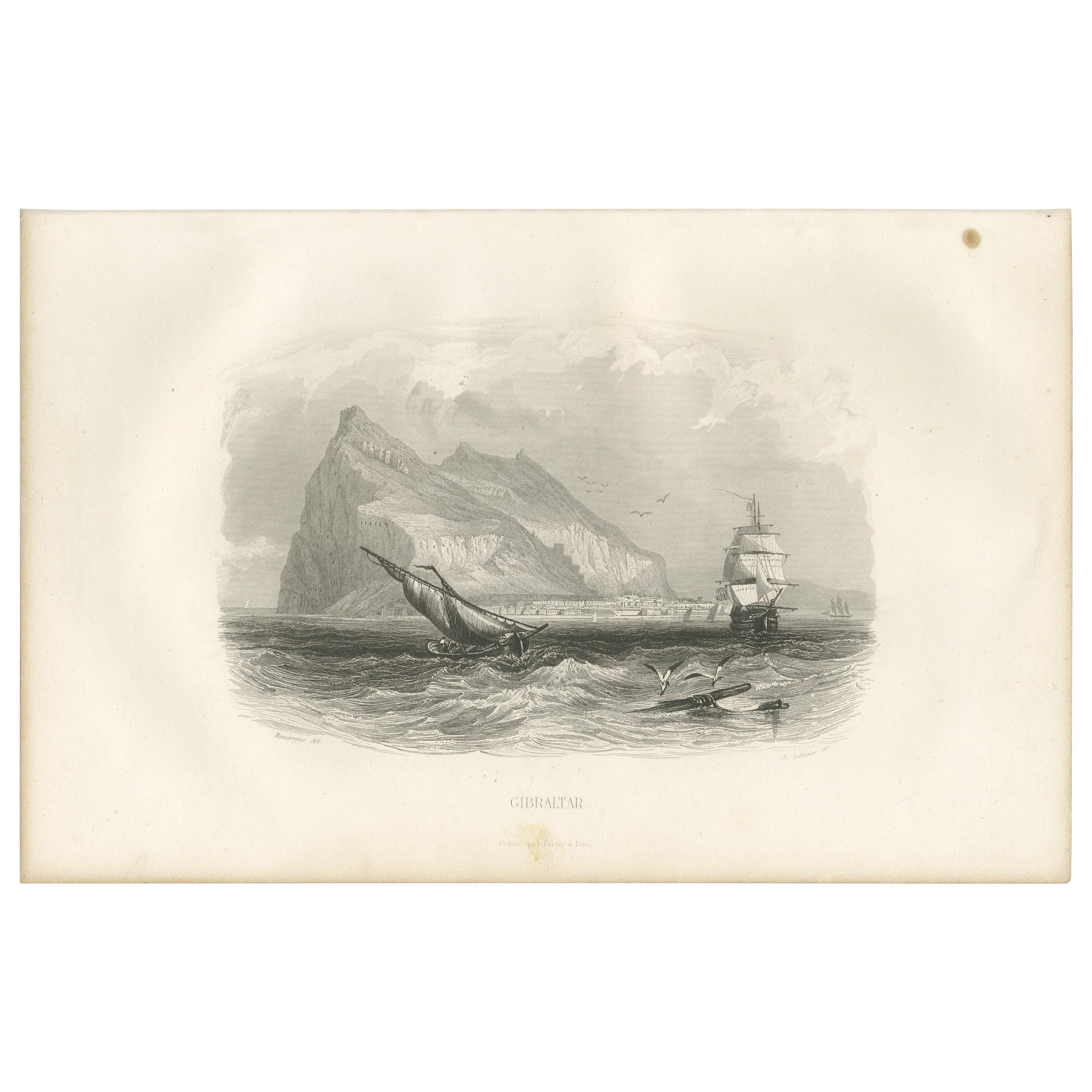 Antique Print with a view of Gibraltar by D'Urville (1853)