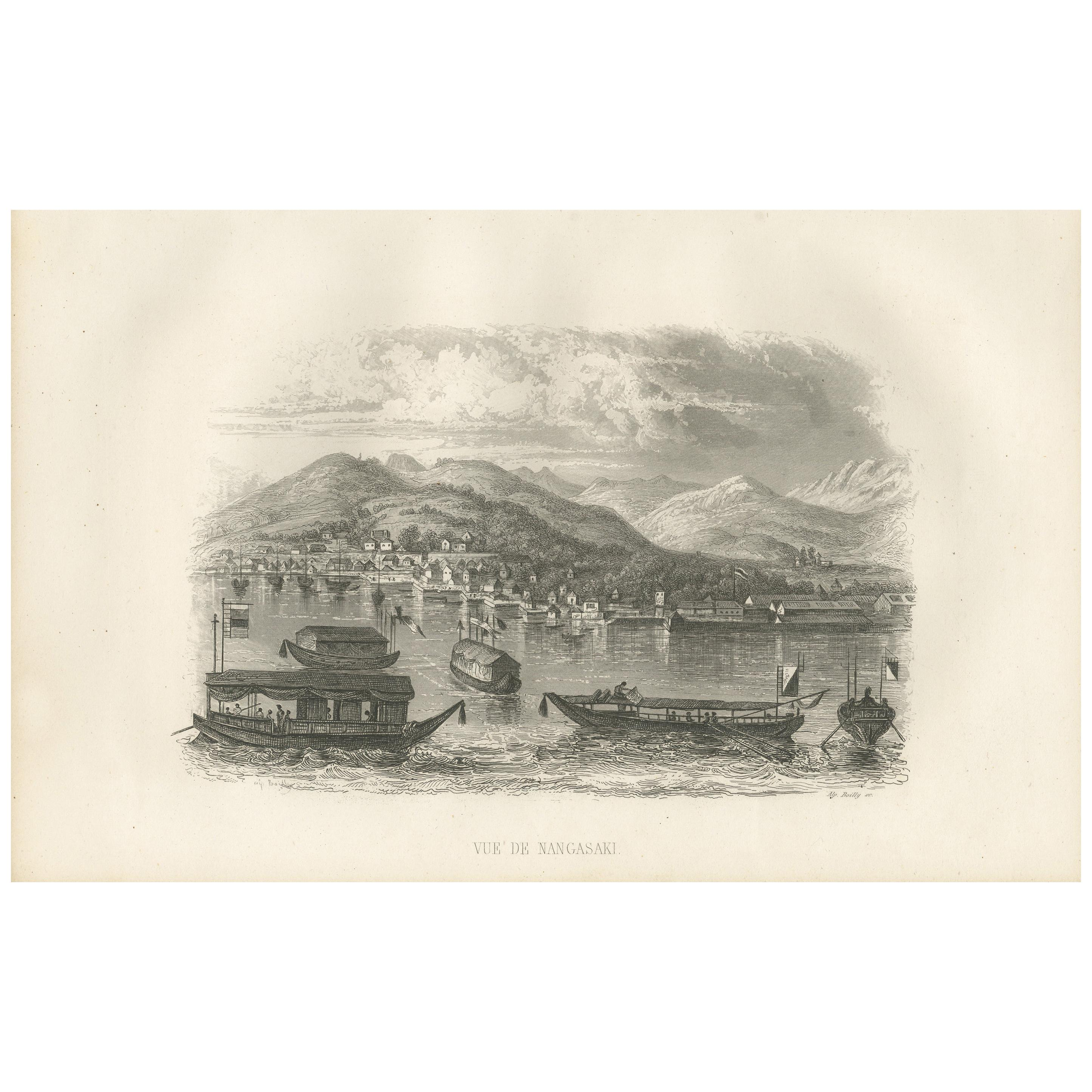 Antique Print with a View of Nagasaki by D'Urville, 1853