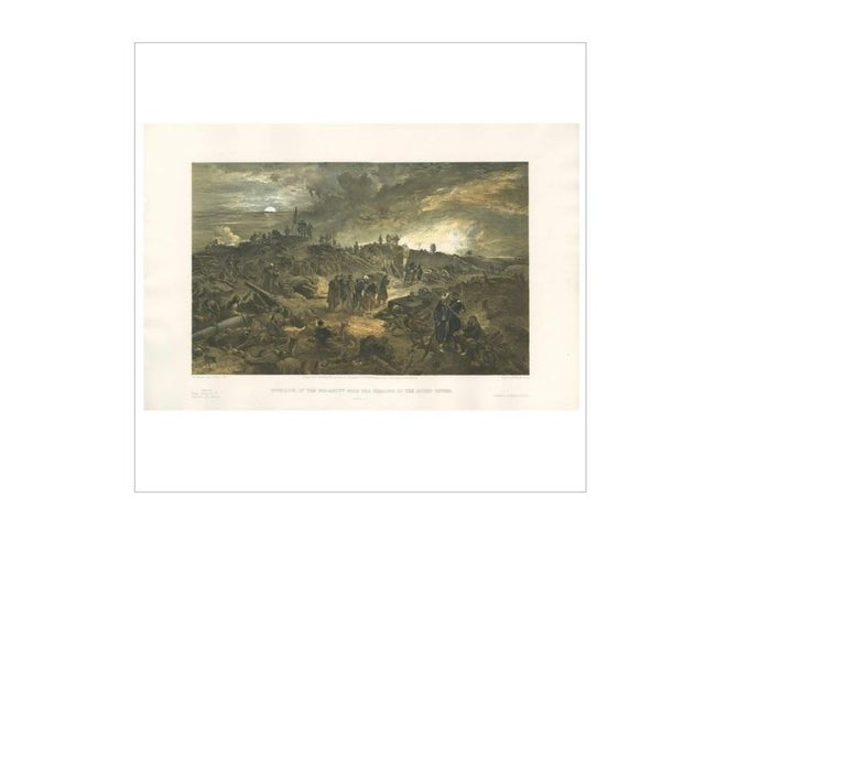 19th Century Antique Print with a View of the Malakoff 'Crimean War' by W. Simpson, 1855 For Sale