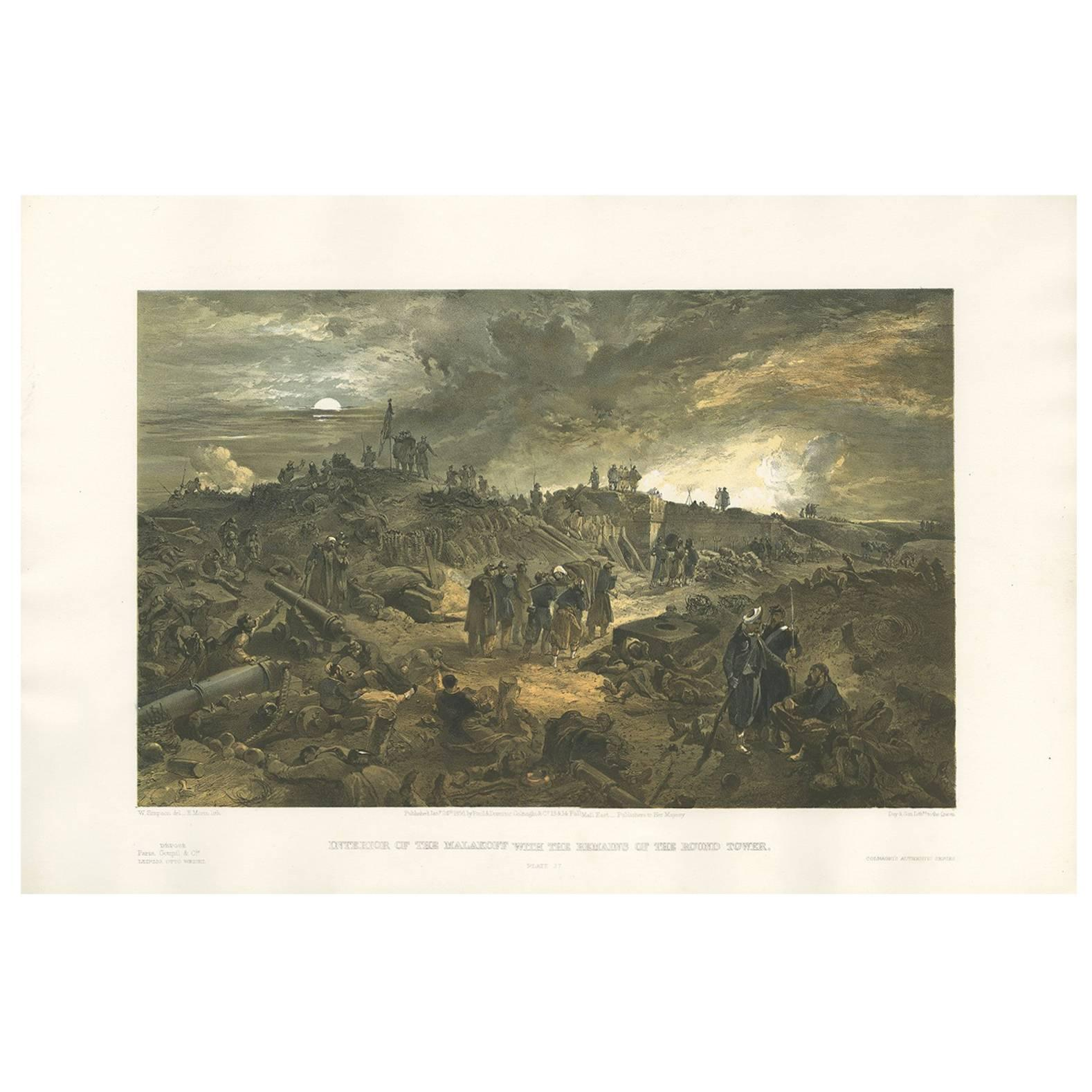 Antique Print with a View of the Malakoff 'Crimean War' by W. Simpson, 1855